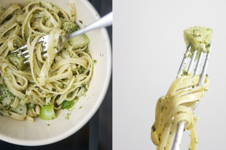 Fettucine with Tomatillo and Cilantro Pesto from A Thought for Food on foodiecrush.com