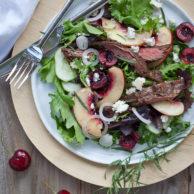 Balsamic Skirt Steak Salad with Nectarines Recipe from FoodieCrush