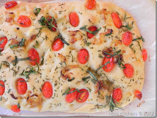 Caramelized Onion and Cherry Tomato Focaccia from The Cake Duchess on foodiecrush.com