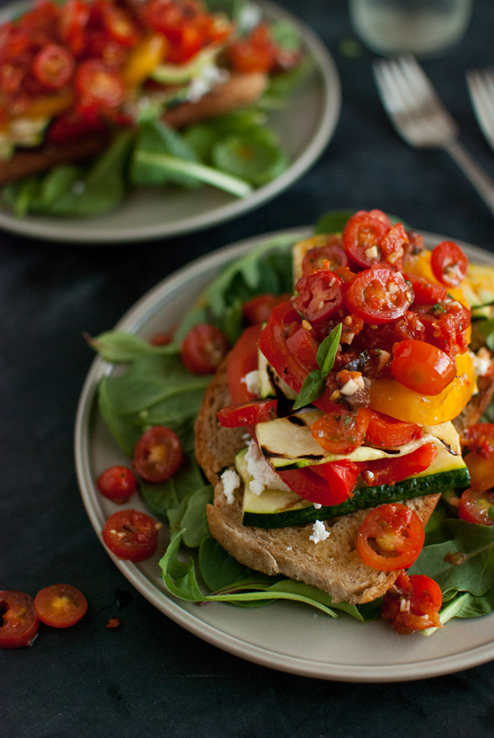 Stacked Tomato, Summer Vegetable and Grilled Bread Salad from Cookie and Kate on foodiecrush.com