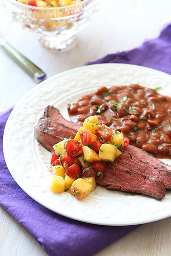 Beer-Marinated Grilled Flank Steak with Peach and Tomato Salsa from Cookin' Canuck on foodiecrush.com