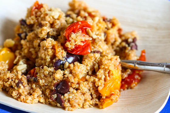 Quinoa with Roasted Tomatoes, Walnuts and Olives from Eat Live Run on foodiecrush.com