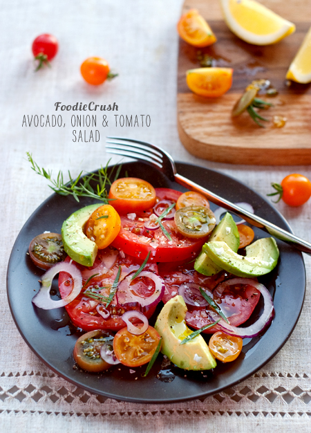 Avocado, Onion and Tomato Salad from FoodieCrush.com