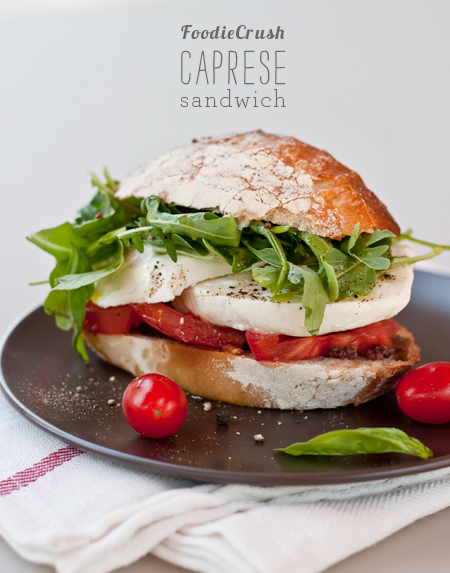 Caprese Tomato Sandwich from FoodieCrush.com