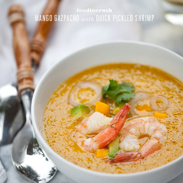 Mango Gazpacho with Pickled Shrimp from FoodieCrush