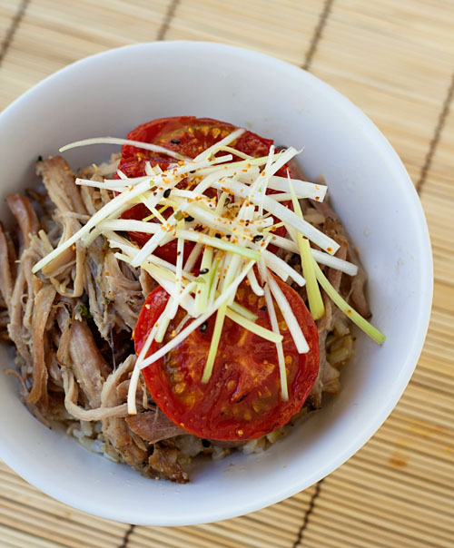 Pulled Pork and Roasted Tomato Donburi from La Fuji Mama on foodiecrush.com
