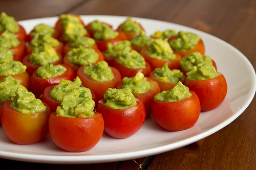 Guacamole Stuffed Cherry Tomatoes from Koko Cooks on foodiecrush.com