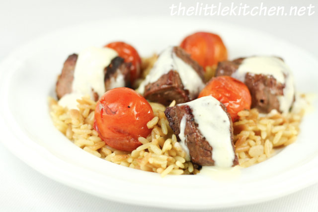 Beef Tenderloin Filet Skewers with Tomatoes from The Little Kitchen on foodiecrush.com
