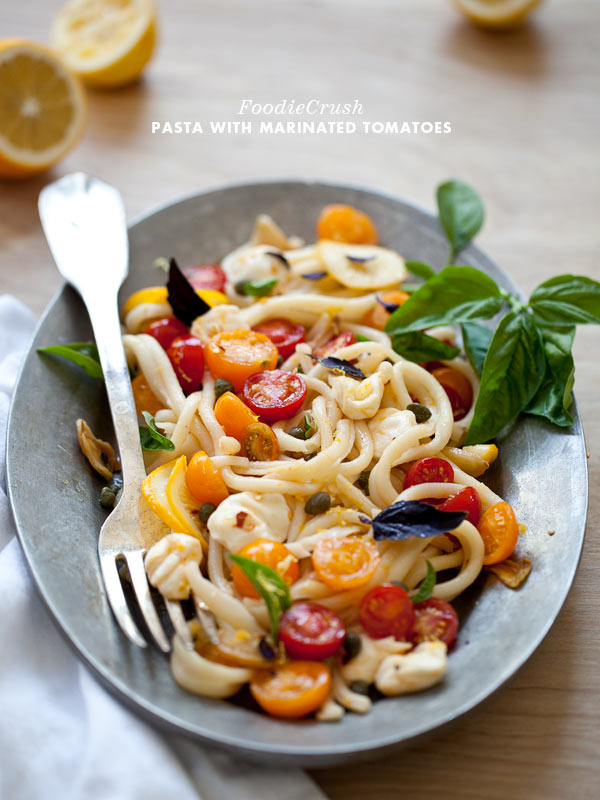 Marinated Tomato Pasta with Garlic and Mozzarella from FoodieCrush.com