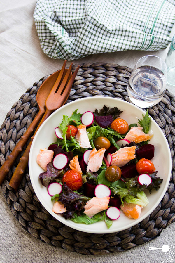 Salmon, Radish and Roasted Tomato Salad from Wholesome Cook on foodiecrush.com