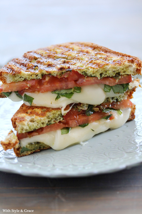 Caprese Mozzarella Tomato and Basil Panini from With Style and Grace on foodiecrush.com