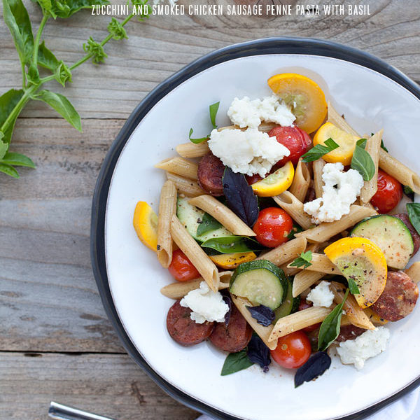 Recipe for Zucchini and Smoked Chicken Sausage Penne Pasta with Basil
