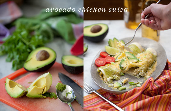 Avocado Cream Chicken Enchilada Suiza from FoodieCrush