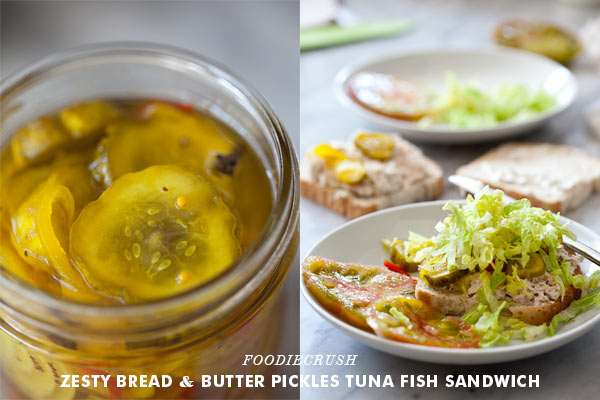 bread and butter pickles on tuna fish sandwich
