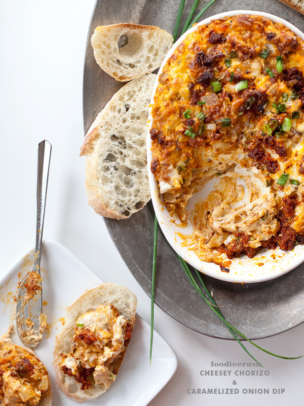Cheesy Chorizo and Caramelized Onion Dip with 40 other Cocktail and Appetizer Recipes to get your party started!