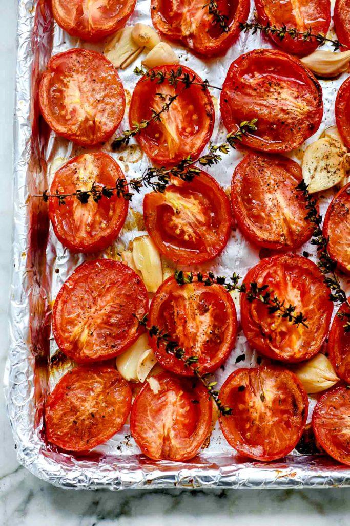 Roasted Tomatoes in the Oven | foodiecrush.com #oven #cherry #tomatoes #roasted #recipe #quick