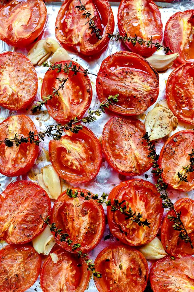 Roasted Tomatoes meant for homemade tomato basil soup