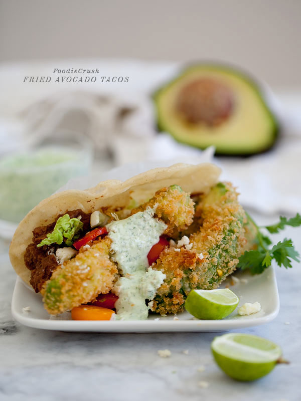 Fried Avocado Tacos from FoodieCrush