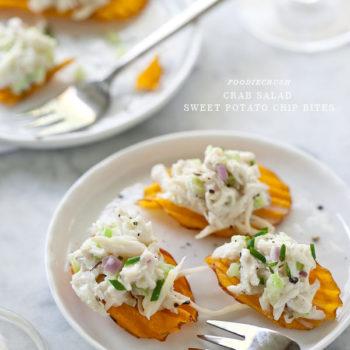 Crab Salad Sweet Potato Chip from FoodieCrush