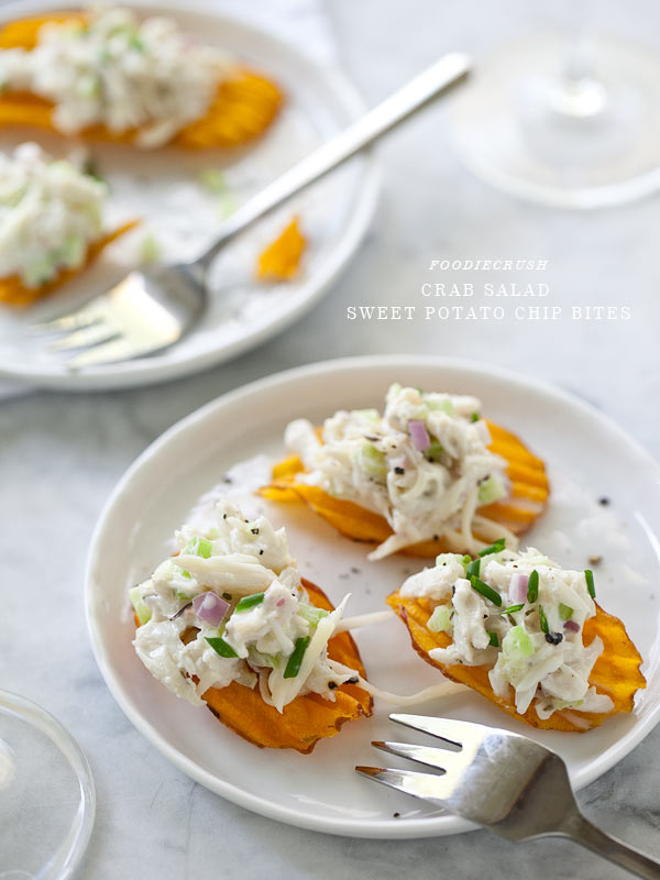 Crab Salad Sweet Potato Chip from FoodieCrush