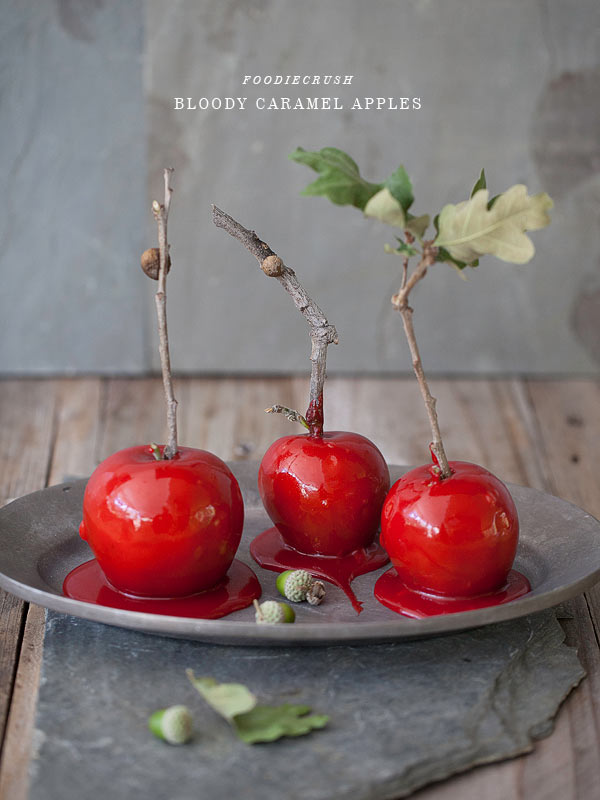 Bloody Caramel Apples from FoodieCrush.com