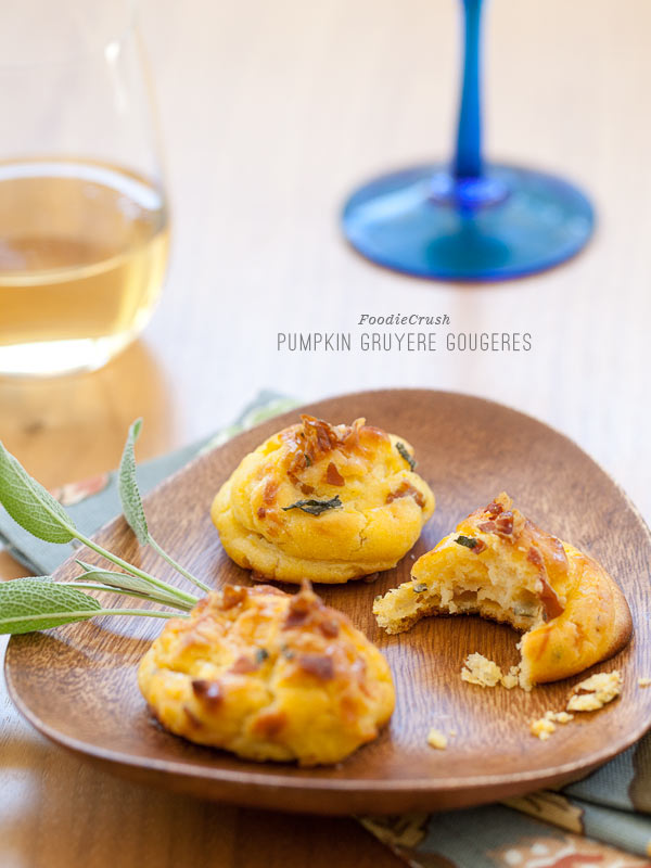 Pumpkin Gruyere Gougeres from FoodieCrush