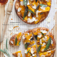 Pumpkin and Fried Sage Flatbread from FoodieCrush