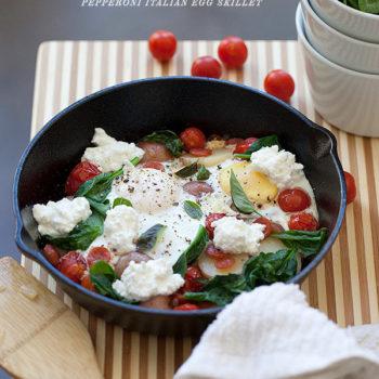 Pepperoni Italian Egg Skillet from foodiecrush.com