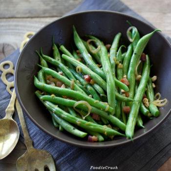 Pancetta and Hazelnut Green Beans from foodiecrush.com