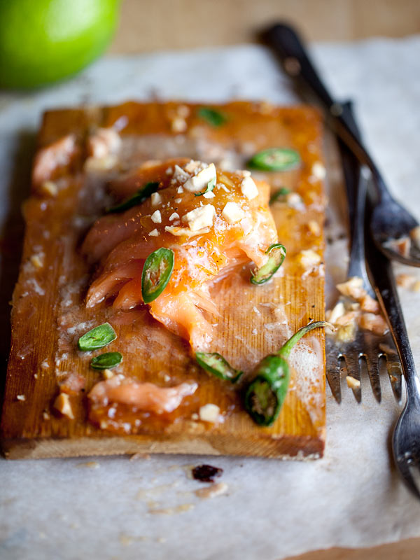 Baked Salmon with Spicy Plum Preserves from foodiecrush.com