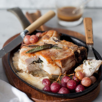 Stuffed Pork Chops with Roasted Grapes from foodiecrush.com