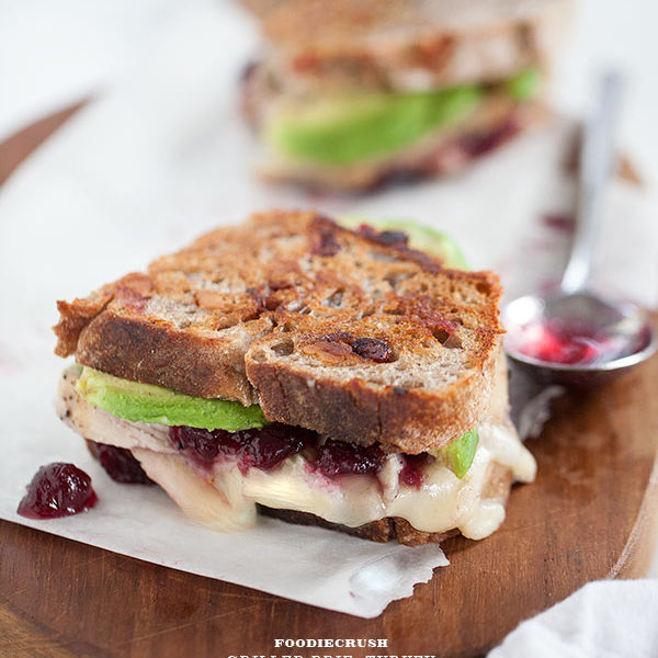Turkey Cranberry and Brie Grilled Cheese from foodicrush.com