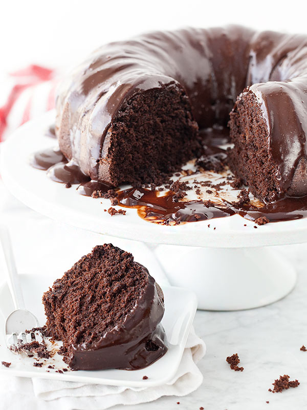 Devil's Food Cake with Espresso Ganache || FoodieCrush