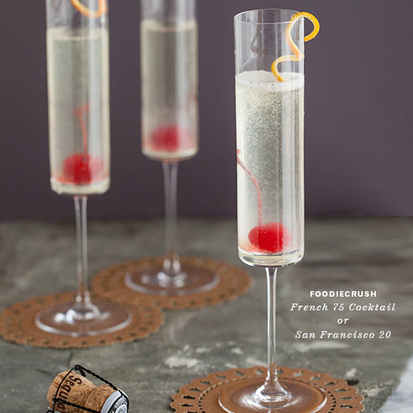 French 75 Cocktail || FoodieCrush