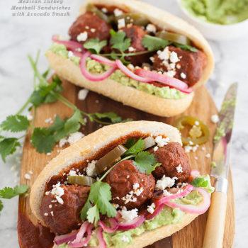 Mexican Turkey Meatball Sandwich | FoodieCrush.com