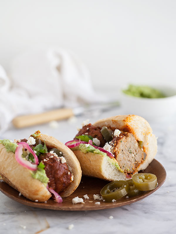 Mexican Turkey Meatball Sandwich | FoodieCrush.com