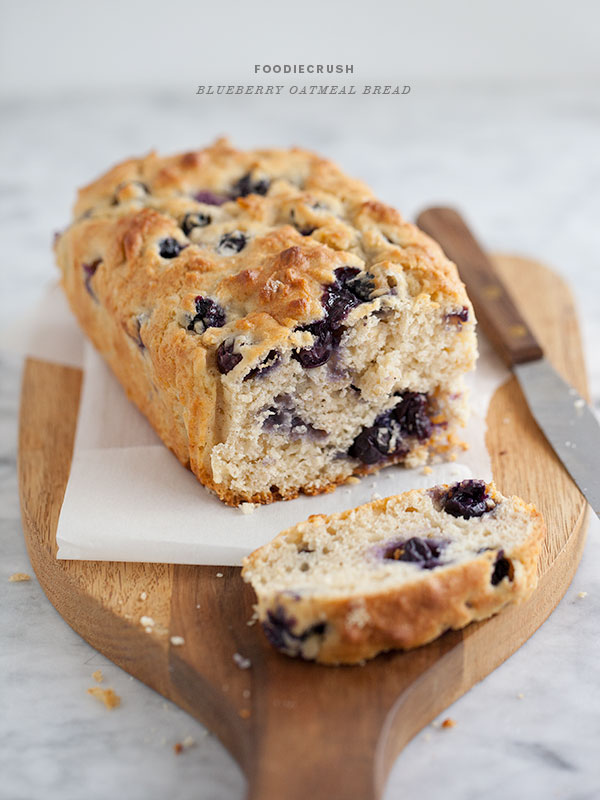 Oatmeal Blueberry Bread Recipe || foodiecrush.com