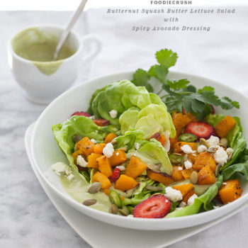 Butternut Squash Butter Salad with Spicy Avocado Dressing || foodiecrush.com