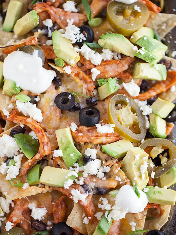 Chicken Nachos with Avocado || FoodieCrush