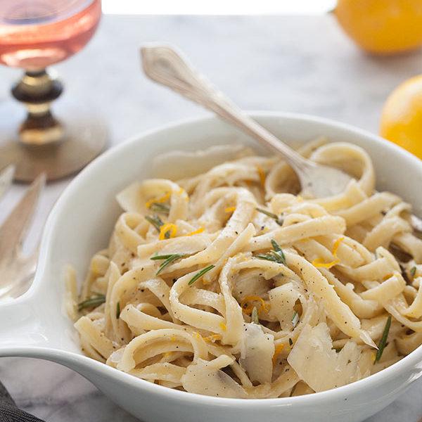 Meyer Lemon Fettucine || FoodieCrush