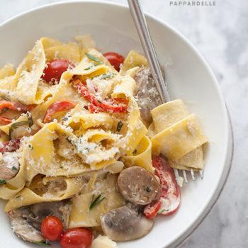 Sausage Pasta with Marsala || foodiecrush.com