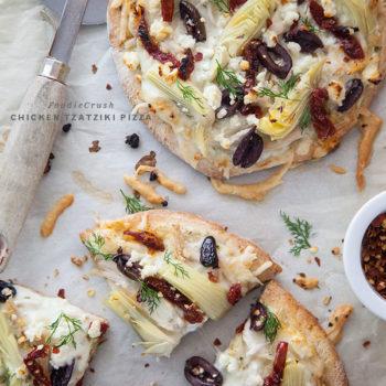 Chicken Tzatziki Pizza || FoodieCrush.com