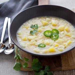 Corn Potato and Jalapeno Soup | FoodieCrush