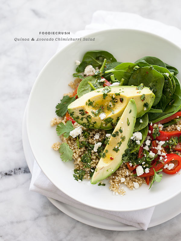Quinoa and Avocado Chimichurri Salad | FoodieCrush.com