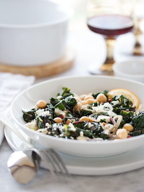 Garlicky Swiss Chard & Chickpeas | FoodieCrush.com