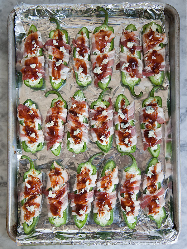 Stuffed Jalapenos with Gorgonzola and Bacon | foodiecrush.com