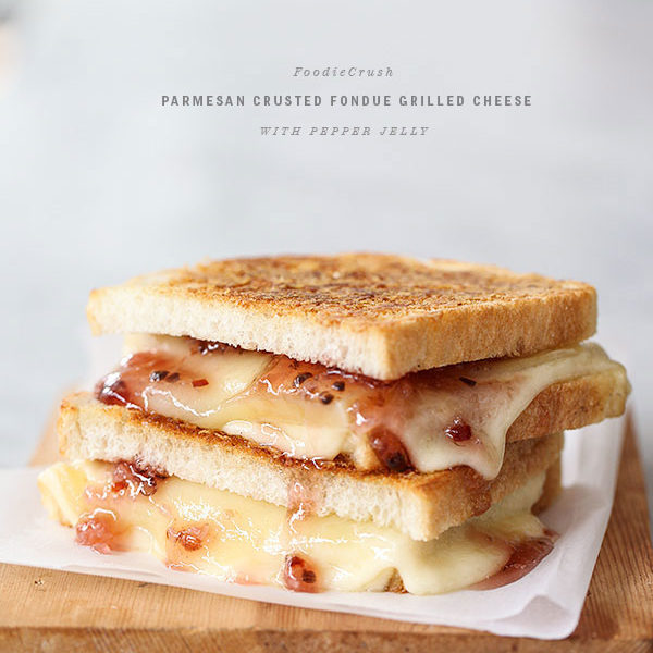 Parmesan Crusted Fondue Grilled Cheese | foodiecrush.com