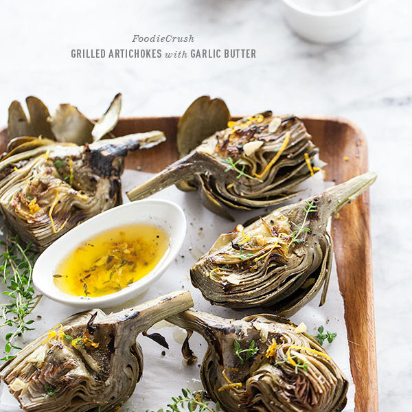 Grilled Artichoke with Garlic Butter | FoodieCrush.com