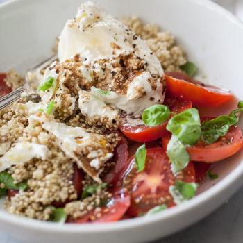 Quinoa and Buratta Caprese Salad | foodiecrush.com