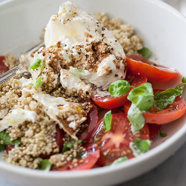 Quinoa and Buratta Caprese Salad | foodiecrush.com